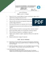 P-I Model Question Paper
