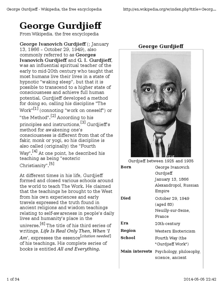 George Gurdjieff | Fourth Way | Religion And Belief