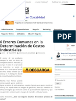 6 Errores Comunes en La Determinación de Costos Industriales