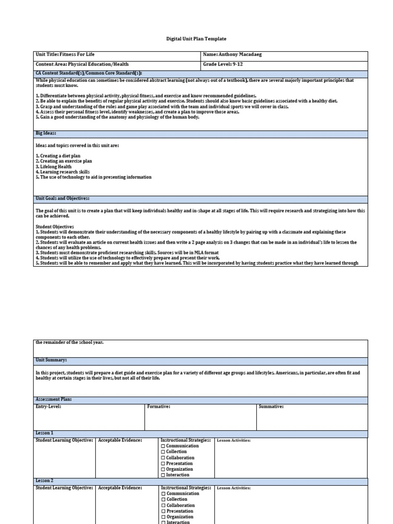 Digital Unit Plan Template 1 | Physical Fitness | Physical Education