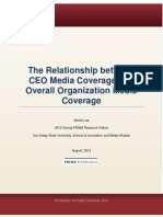 The Relationship between CEO Media Coverage and Overall Organization Media Coverage.