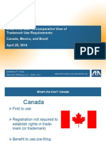 What's the Use? A Comparative View of Trademark Use Requirements: Canada, Mexico, and Brazil  April 25, 2014
