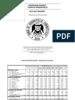 2014-15 Brookfield Budget