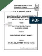 Cuantificación de Enzimas Presentes en Extractos de Mostos Durante La Producción Del Mezcal