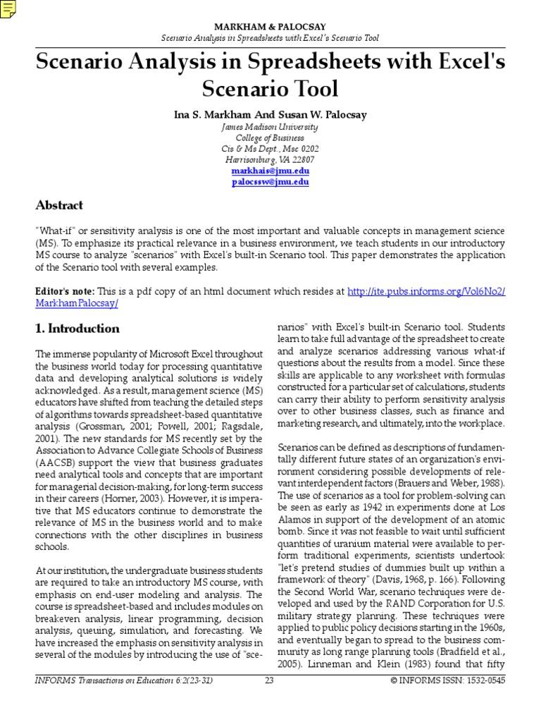 Scenario Analysis in Excel pdf | Sensitivity Analysis | Microsoft Excel