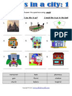 Places in a City 1 Using Would Worksheet