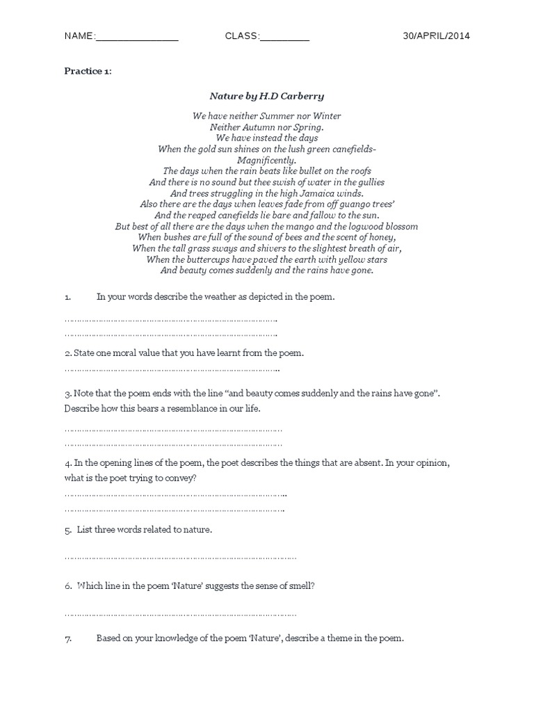ENGLISH LITERATURE EXERCISE POEM F5 (246 views)