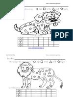 Colorea y Cuenta Las Formas Geometricas Con Animales