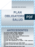 Plan Obligatorio de Salud Resolucion 5521 de 2013