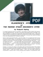 M'Andrew's Hymn - The Marine Steam Engineer's Hymn - Rudyard Kipling - c.1893