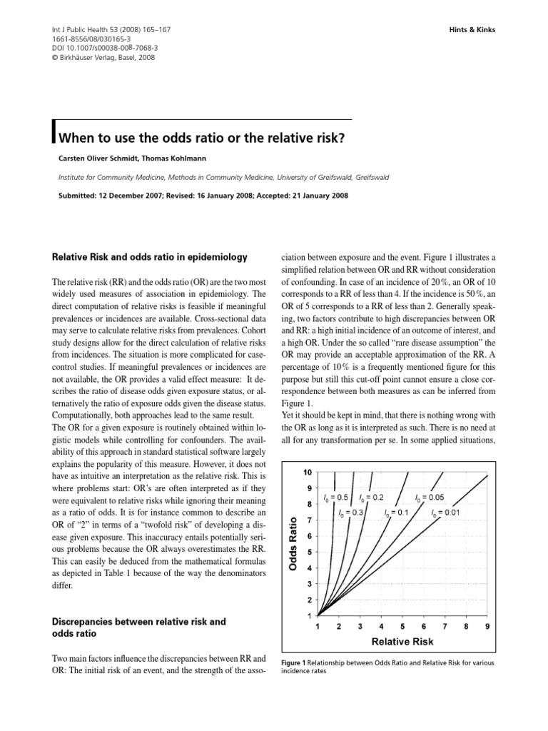 2008 - Schmidt - Int J Public Health - When to Use the Odds