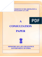 Consultationpaper on Arbitration and Reconciliation Act-1996