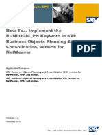 How to Implement RUNLOGIC_PH Keyword in SAP BPC Version for NetWeaver