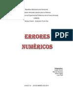 Análisis de Errores Para Los Métodos Numéricos