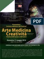 Terzo Festival  Arte Medicina Creatività a Torino  11 Maggio 2014 - Programma