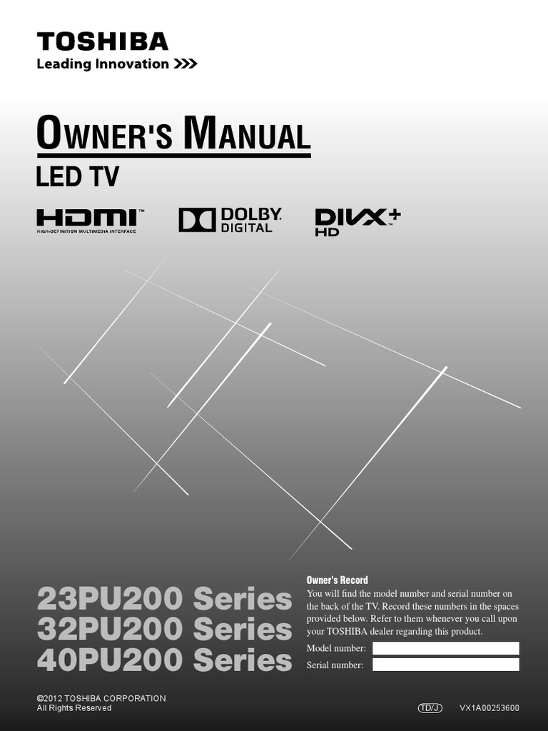 toshiba pu 200 ze user manual hdmi display technology rh scribd com toshiba regza user guide toshiba regza owners manual