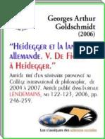 Georges-Arthur Goldschmidt, Heidegger Et La Langue Allemande. v (2006)
