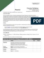 BIO 100 Course Syllabus