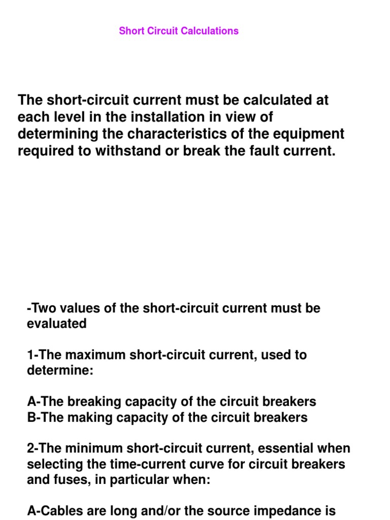 Short Circuit Calculation Electrical Network Impedance Breaker Installation Essentials Know Which Type Of