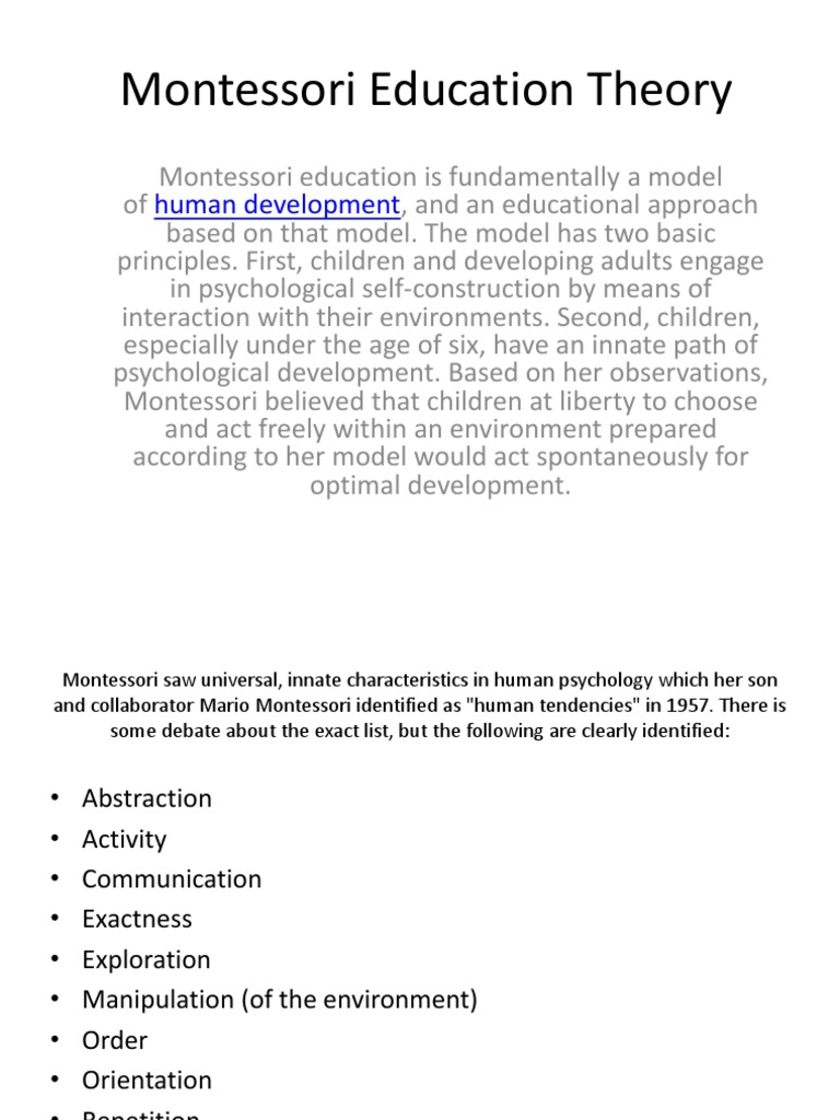 human tendencies montessori education