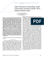 The Effect of under Nutrition on Schooling, Adult Productivity and Economic Growth in South -West Madhya Pradesh, India