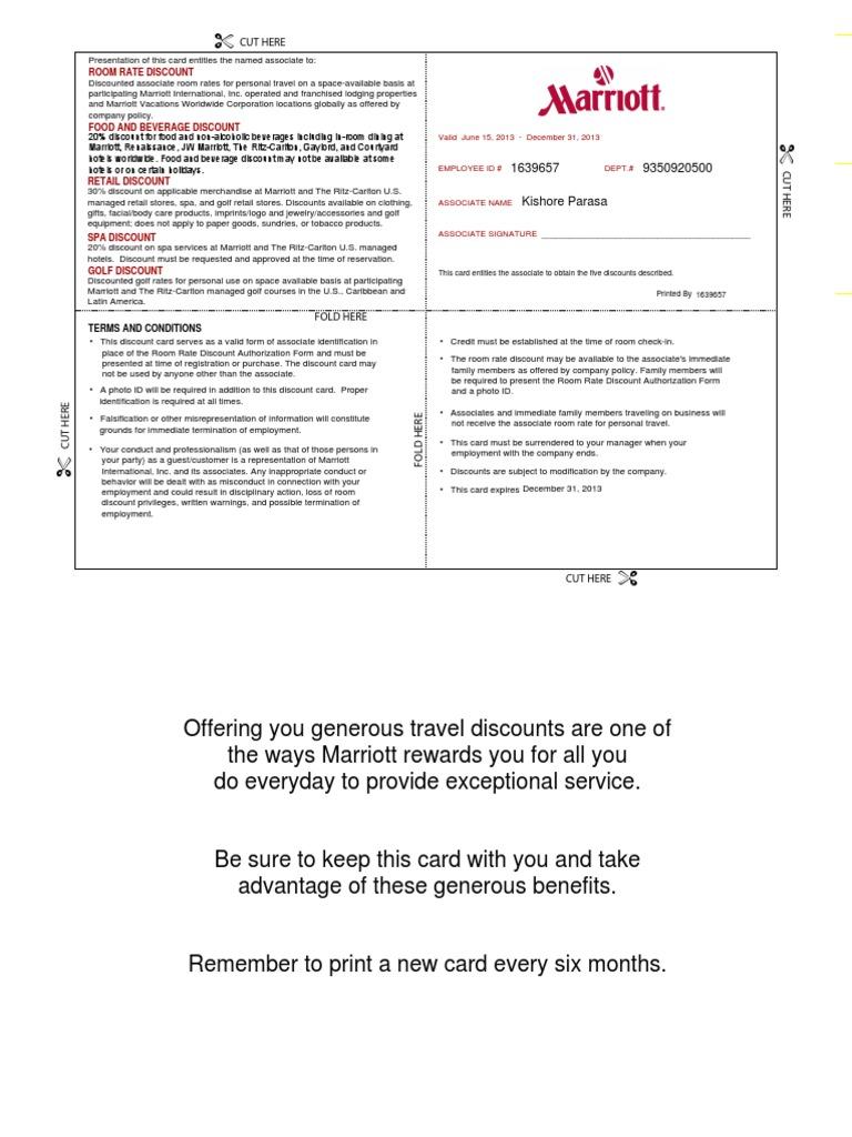 Discount   Marriott International   Identity Document