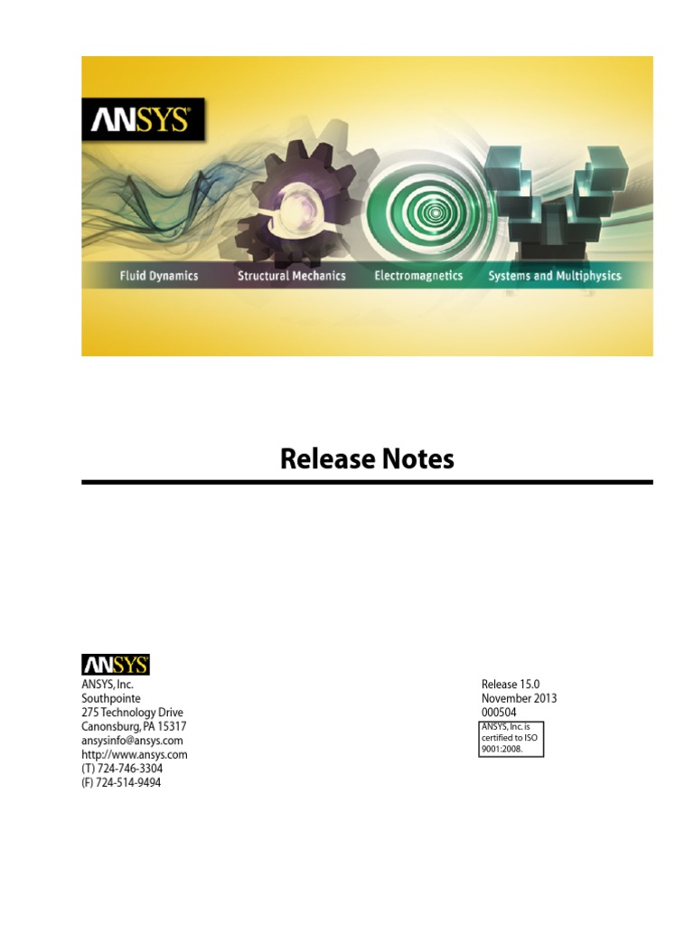 ANSYS 15 Release notes | Trademark | License