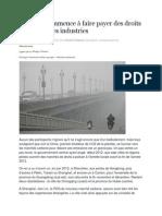 La Chine Commence à Faire Payer Des Droits à Polluer à Ses Industries