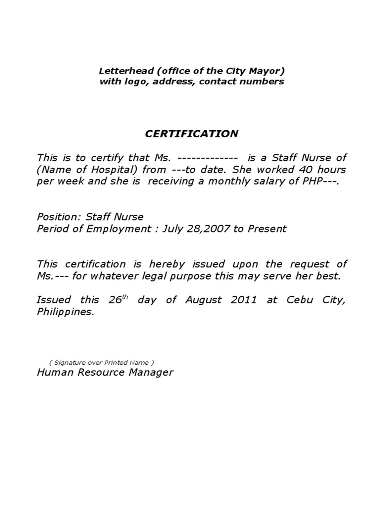 Sample certificate of employment for staff nurses gallery sample certificate of employment yadclub gallery yelopaper Choice Image