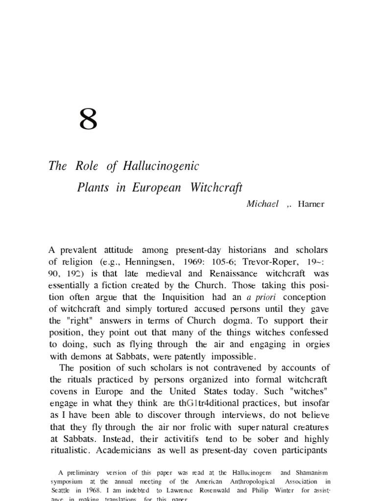 The role of hallucinogenic plants in european witchcraft witchcraft werewolves
