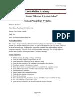 online human physiology syllabus 2014
