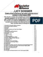 Socialist Alliance Policy Dossier to September 2009