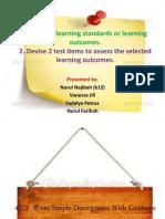 Learning Standard n Test Item (Writing)
