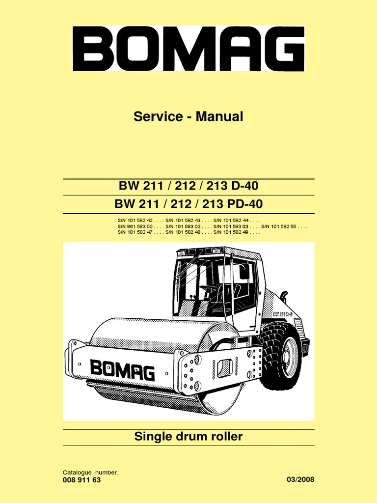 bw211 212 213d 40 service manual e 00891163 c08 pdf electrical rh scribd com bomag wiring diagram bomag bmp851 wiring diagram