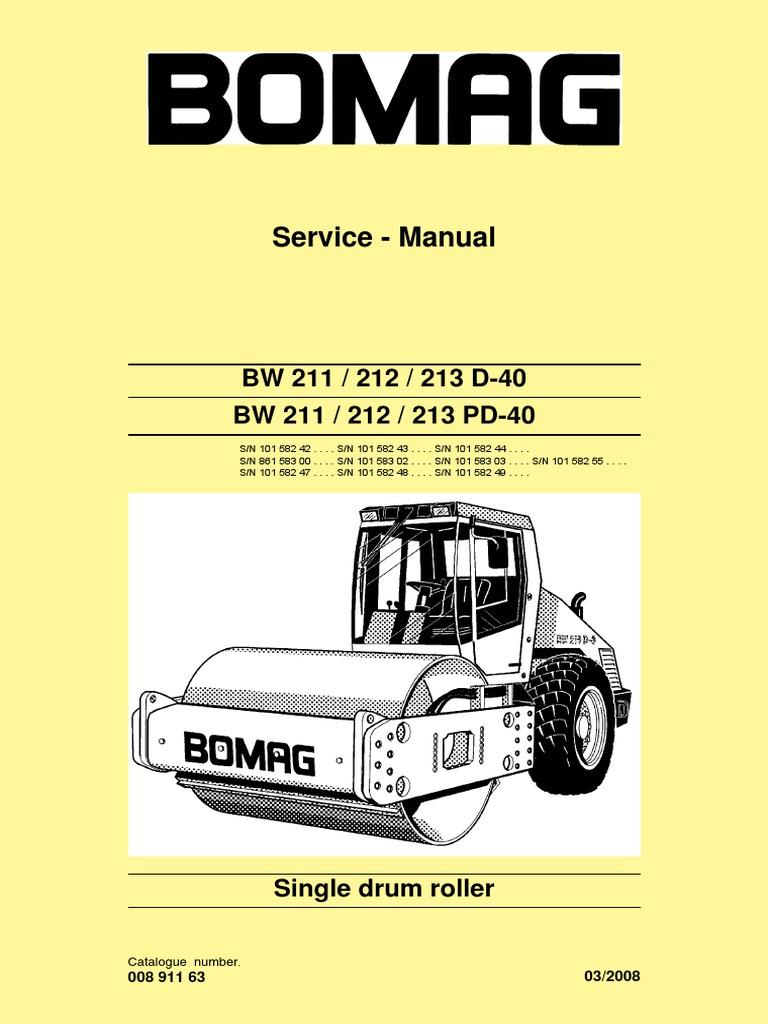 bw211 212 213d 40 service manual e 00891163 c08 pdf electrical rh scribd com bomag roller wiring diagram bomag 120 wiring diagram