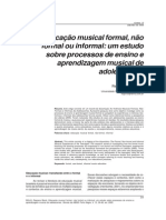 Ensino de Musica - Formal, Informal, Nao Formal