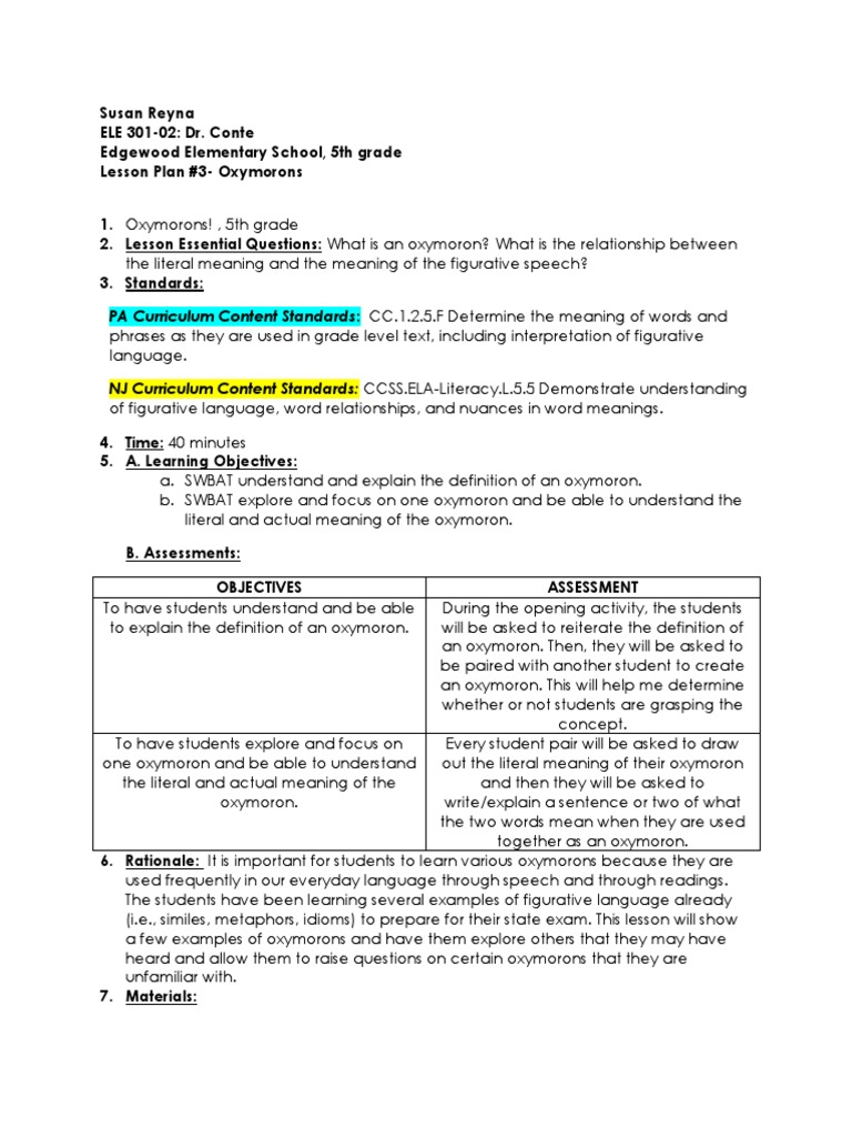 Oxymorons Lesson Plan Lesson Plan Curriculum