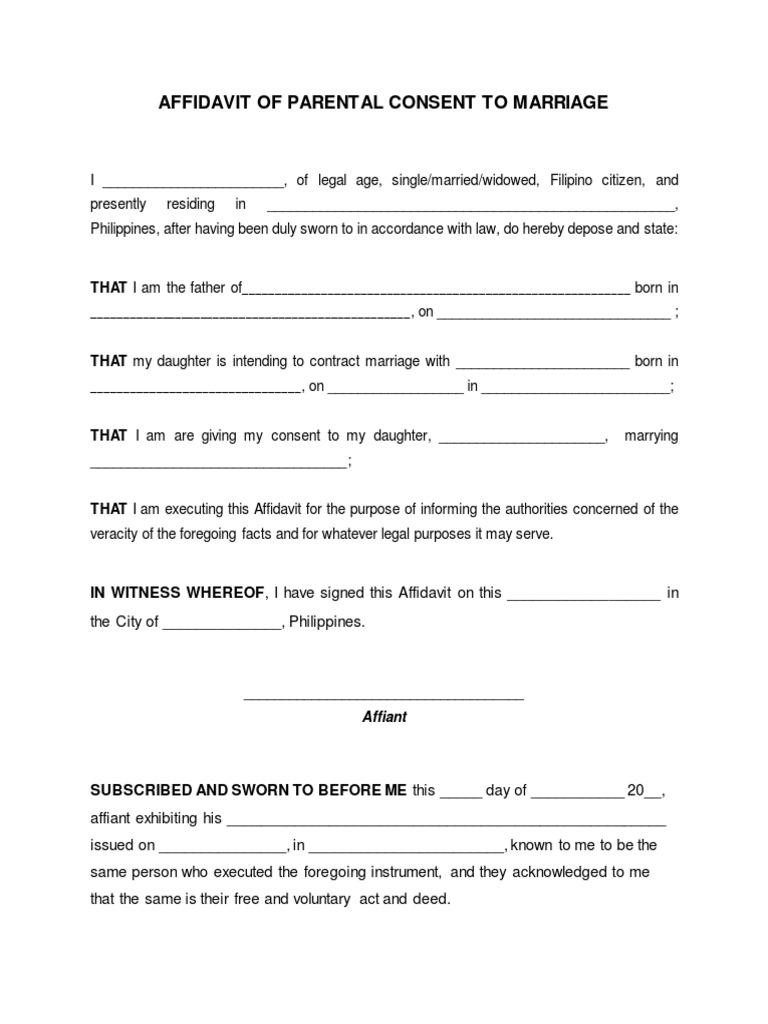 Blank affidavit of parental consent to marriage altavistaventures Image collections