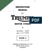 Instruction Manual for TRIUMPH TRW Mark 2