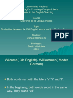 Old English words and Modern German