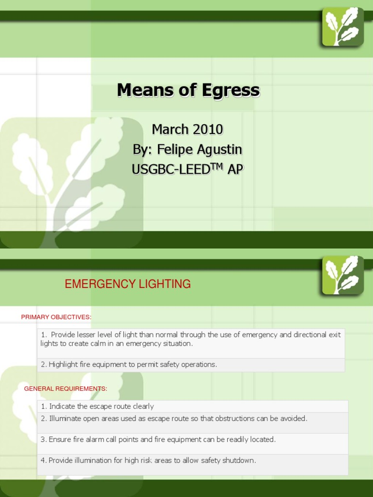 Means Of Egress | Power Supply | Lighting