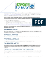 Voter Fact Sheet - 2014 National and Provincial Elections