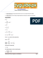 Equations and Definitions