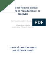Henri Léridon - Comment l'homme a (déjà) transformé sa reproduction et sa longévité