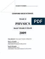 Gosford High School Half Yearly Physics