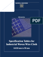 Specification Tables for Industrial Woven Wire Cloth Ges