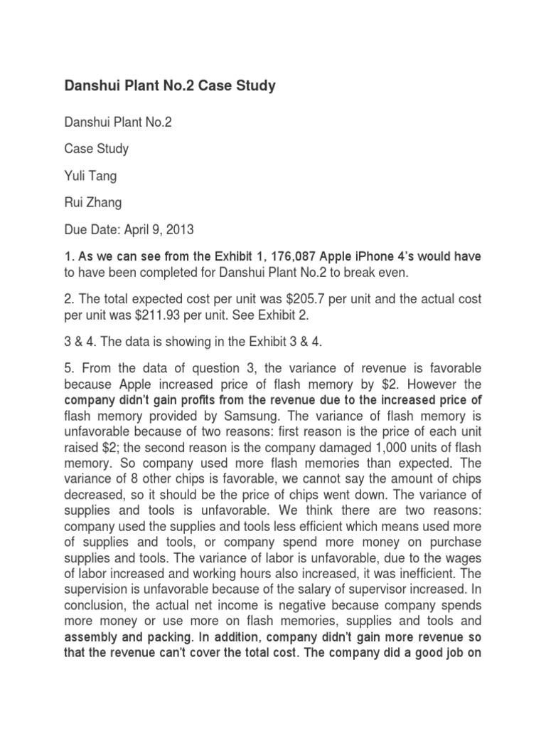 danshui plant no 2 case study solution