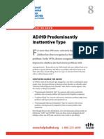WWK08 ADHD Predominantly Inattentive Type