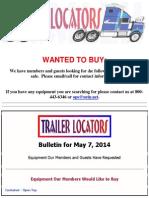 Wanted to Buy Bulletin - May 7, 2014