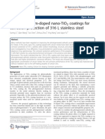 Study on Cerium-doped Nano-TiO2 Coatings for Corrosion Protection of 316 L Stainless Steel